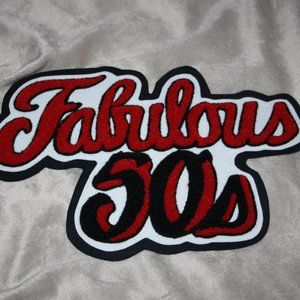 Vintage red and black fabulous 50's patch 12""
